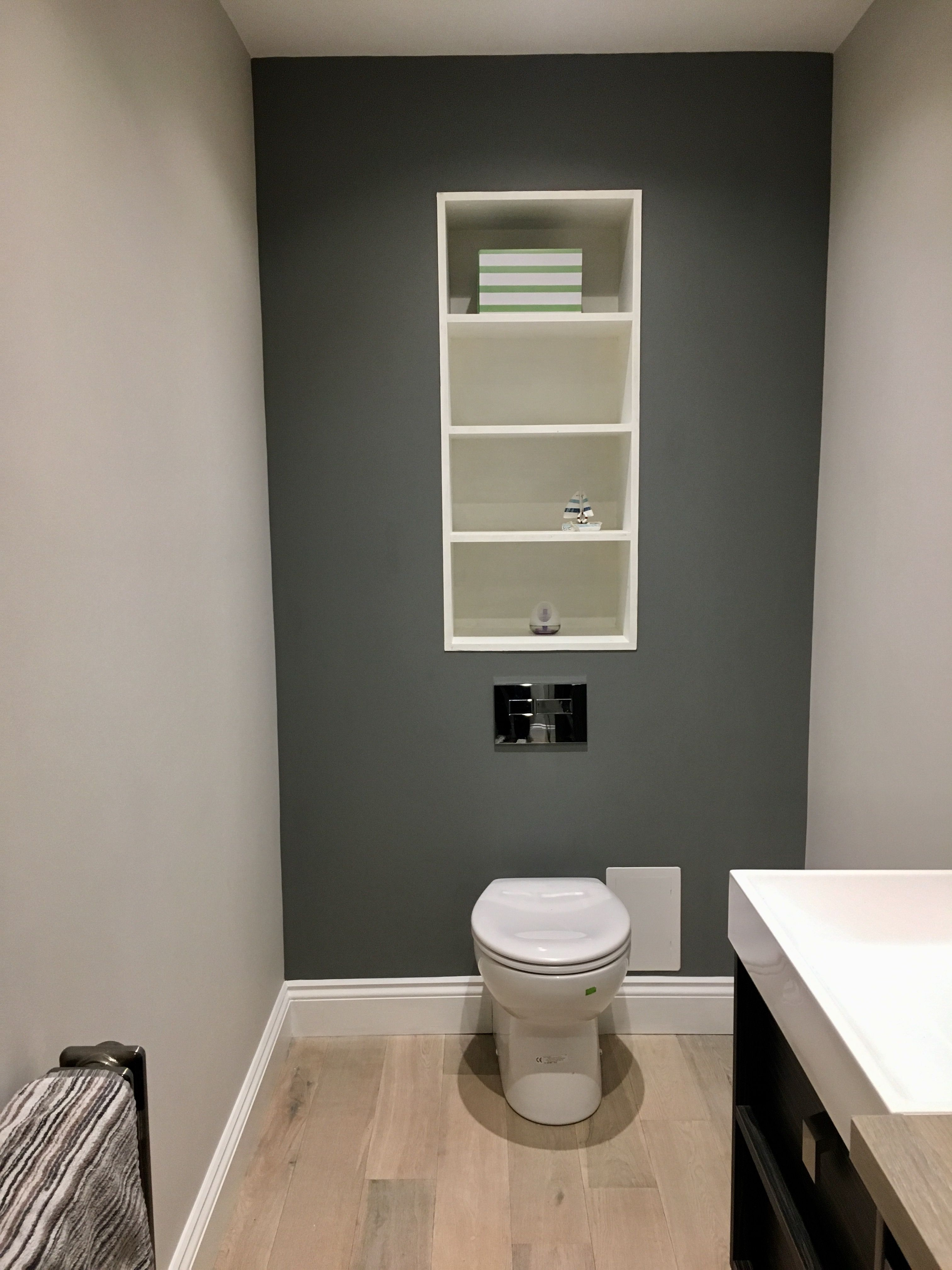 Cloakroom Painted With Farrow And Ball Ammonite And Plummet For The Feature Wall Grey Feature Wall Bathroom Feature Wall Toilet Room Decor