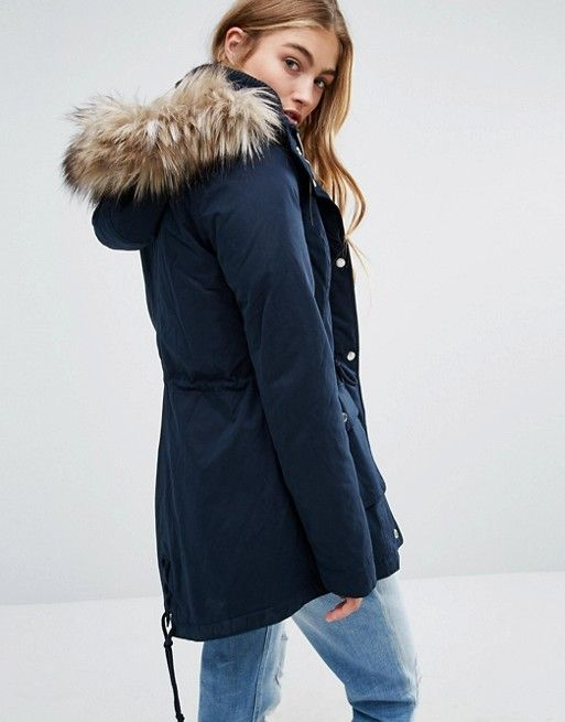 Hollister | Hollister Sherpa Lined Parka Coat with Faux Fur Trim ...