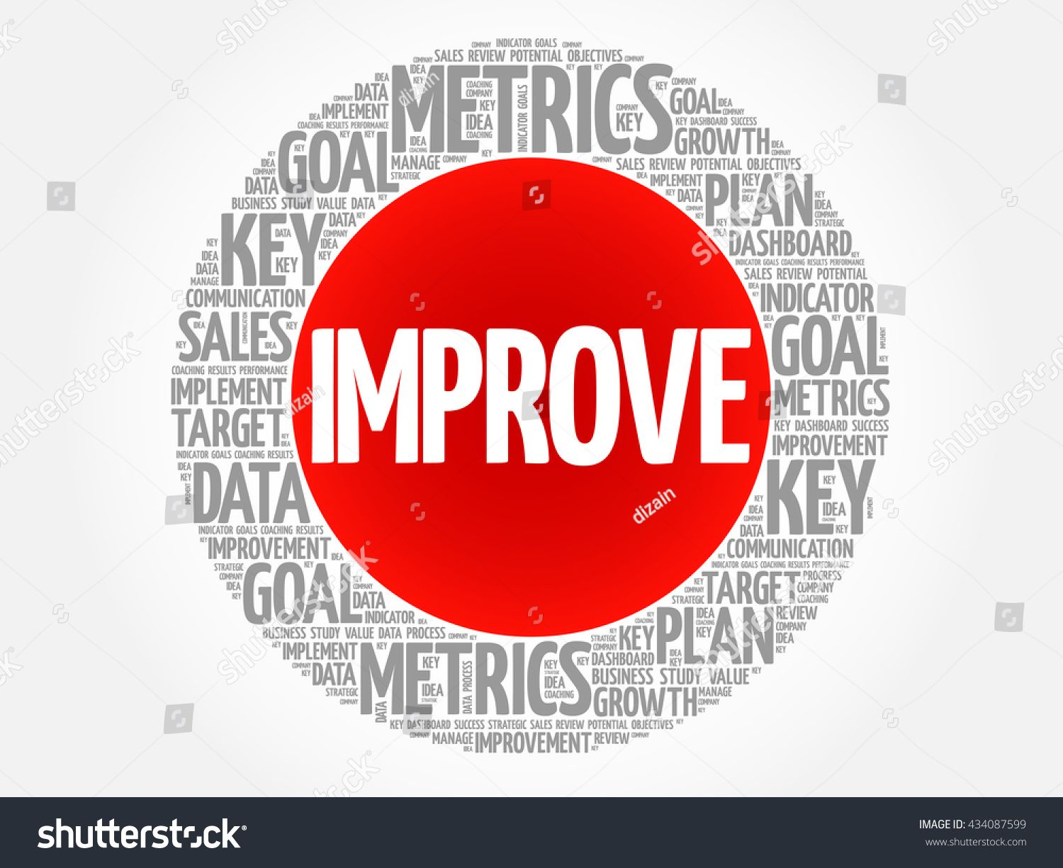 Improve circle word cloud business concept background ad