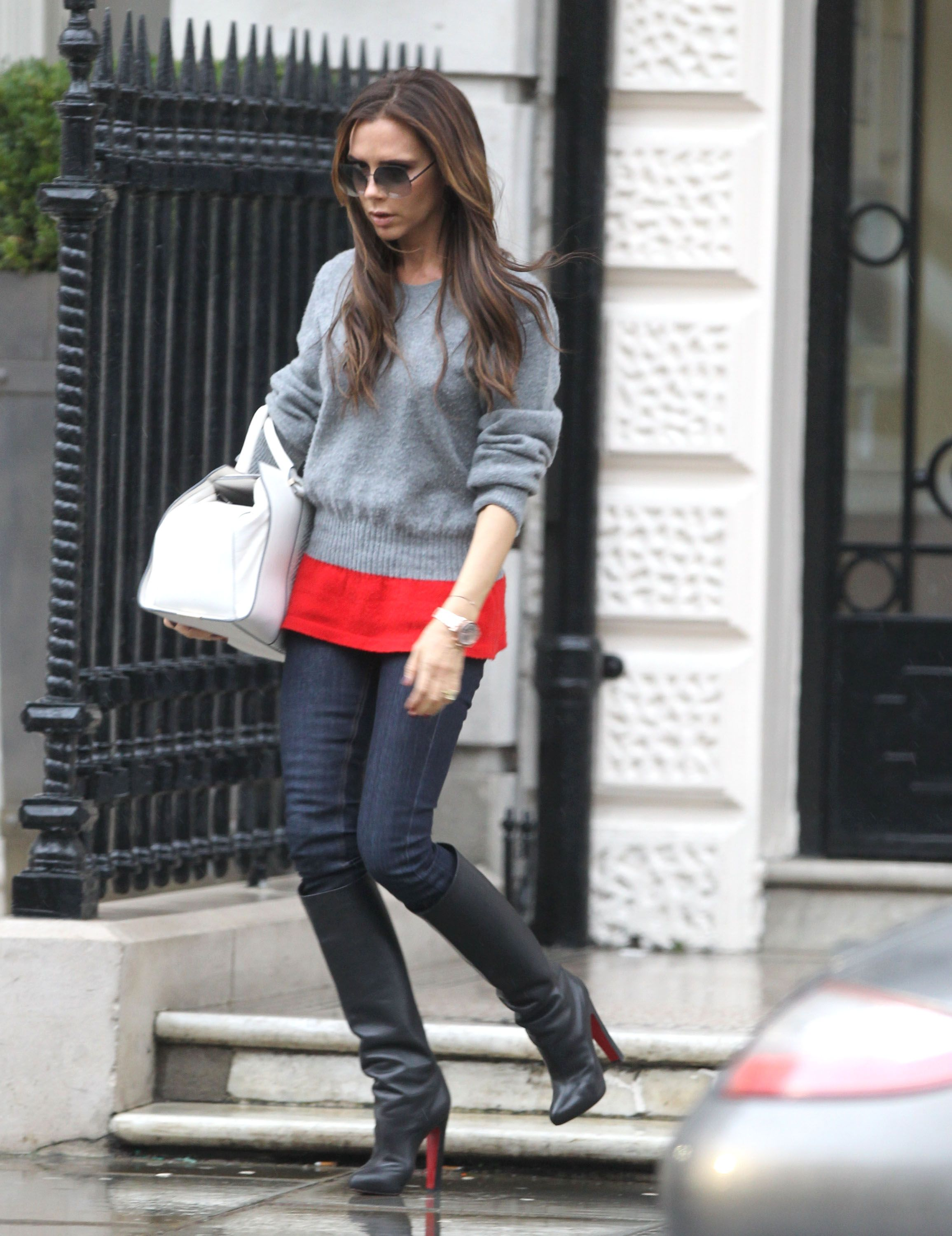 Celebrities in Boots  Victoria Beckham in Christian Louboutin Knee High  Boots 81c41d7d6