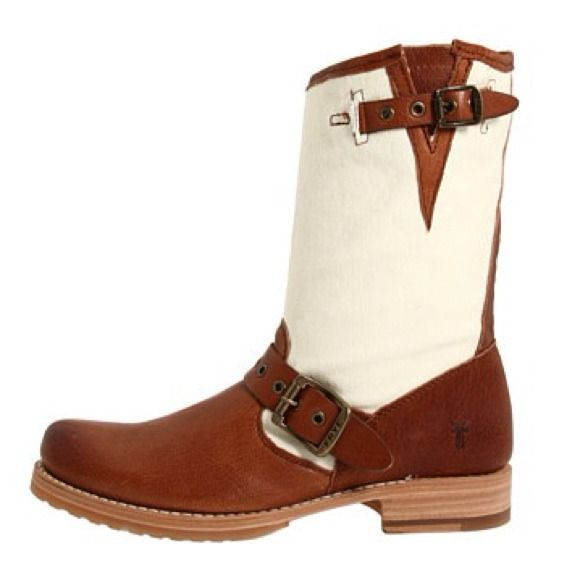 FRYE Veronica Grommet Short Cognac Leather/ Canvas Frye boots. This trendy style features adjustable strap buckles, grommet details on straps and back of boots, leather footbed & a durable rubber outsole. Frye Shoes