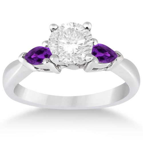 Pear Cut Three Stone Amethyst Engagement Ring 14k White Gold (0.50ct) -  Allurez
