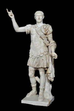 Marble statue of the Roman emperor Trajan in military dress, ca. AD 98-117.