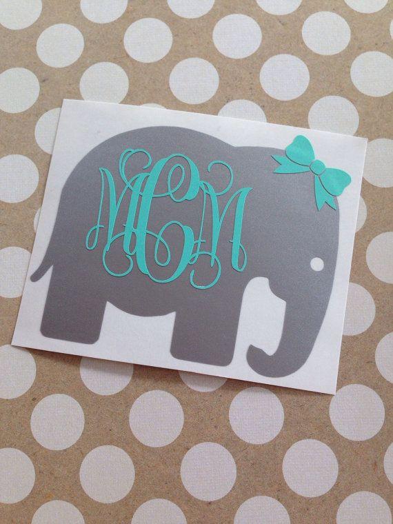 Monogrammed Elephant Elephant Monogram Vine By MMVinylCreations - Elephant monogram car decal