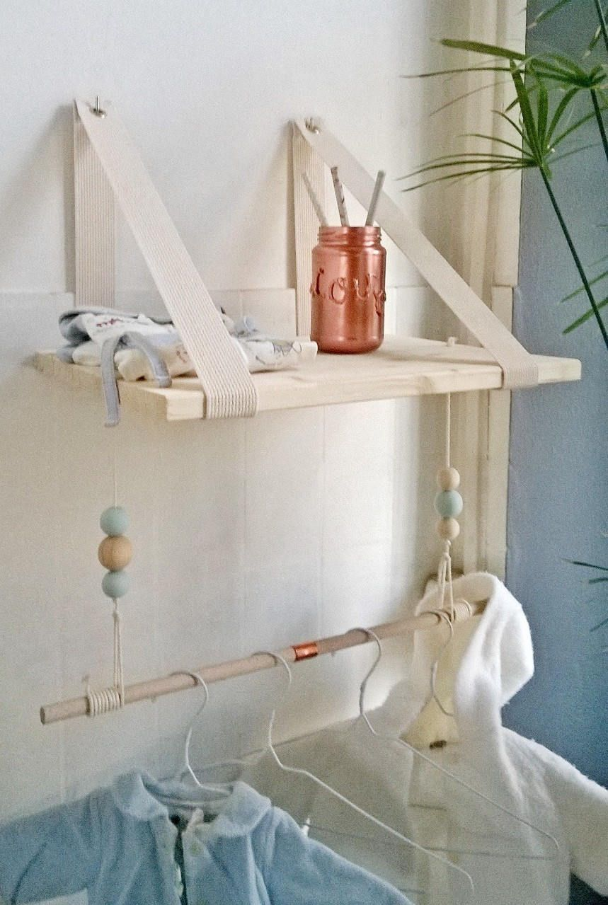 Scandinavian Suspended Shelf Raw Wood Room Chamber Baby  # Etagere En Planche Brute