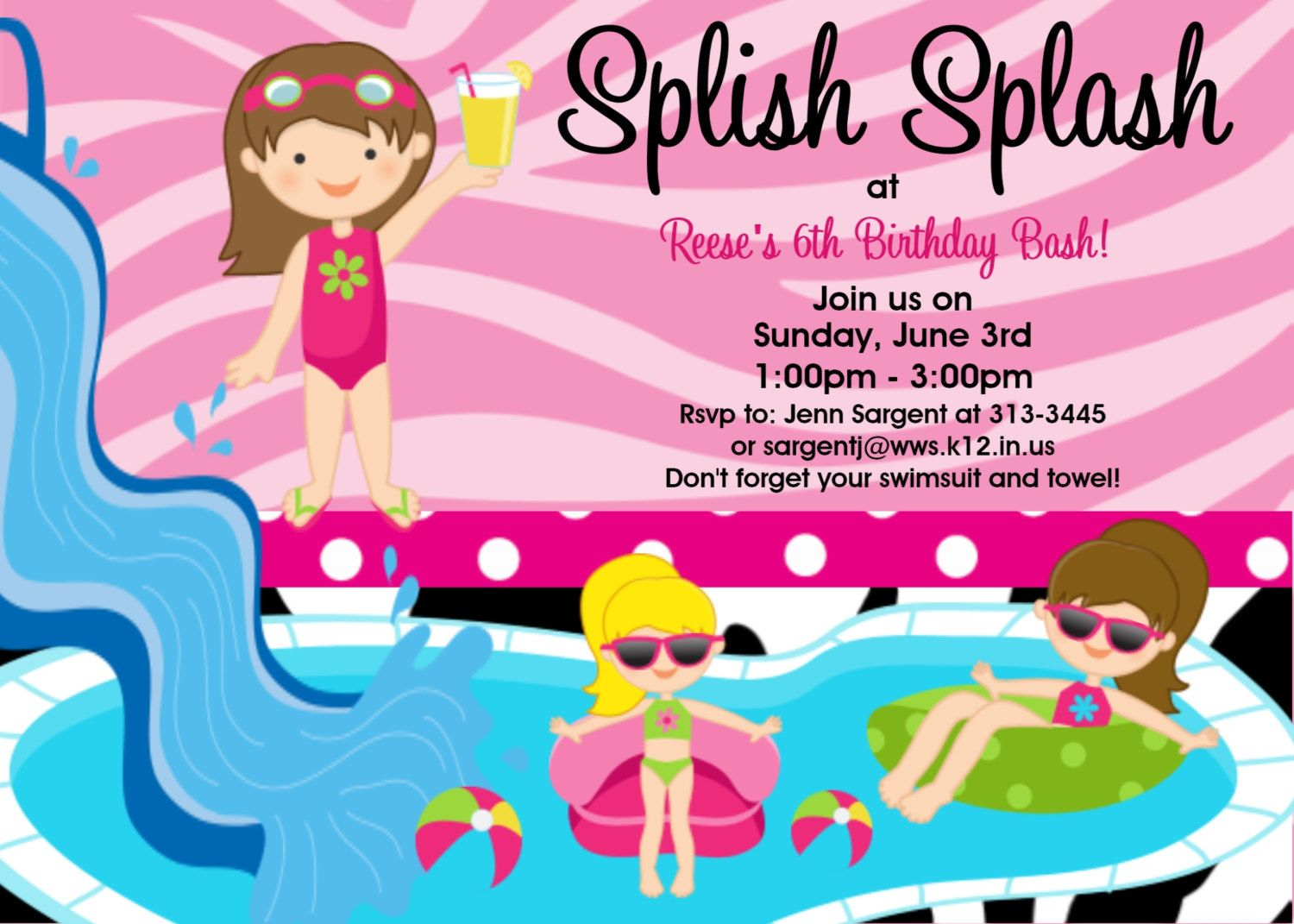 Pool Party Birthday Invitation , Water Slide Birthday Invitations ...