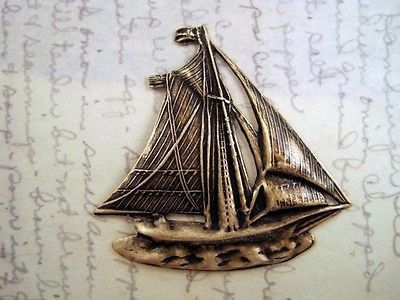 Large Oxidized Brass Plated Sailboat Stamping (1) - BORAT3852 Jewelry – Glamour Girl Beads