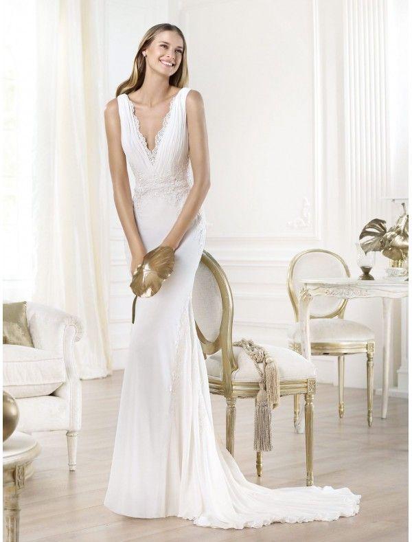 Trending Chiffon Deep V Neck Wedding Dress with lace Applique PS Bridal Gowns RainingBlossoms