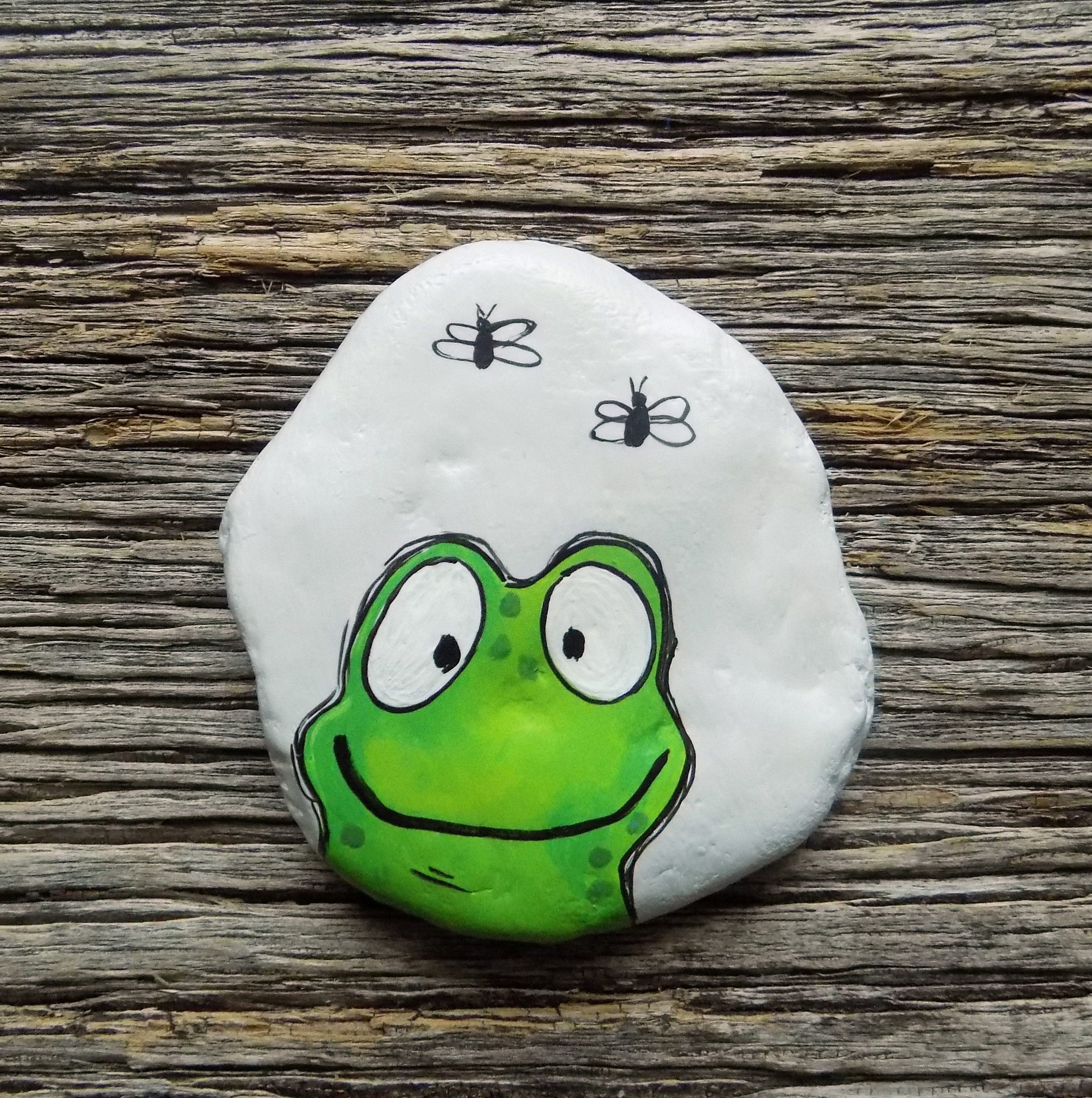 Happy Frog Painted Rock, Decorative Accent Stone, Paperweight #painting