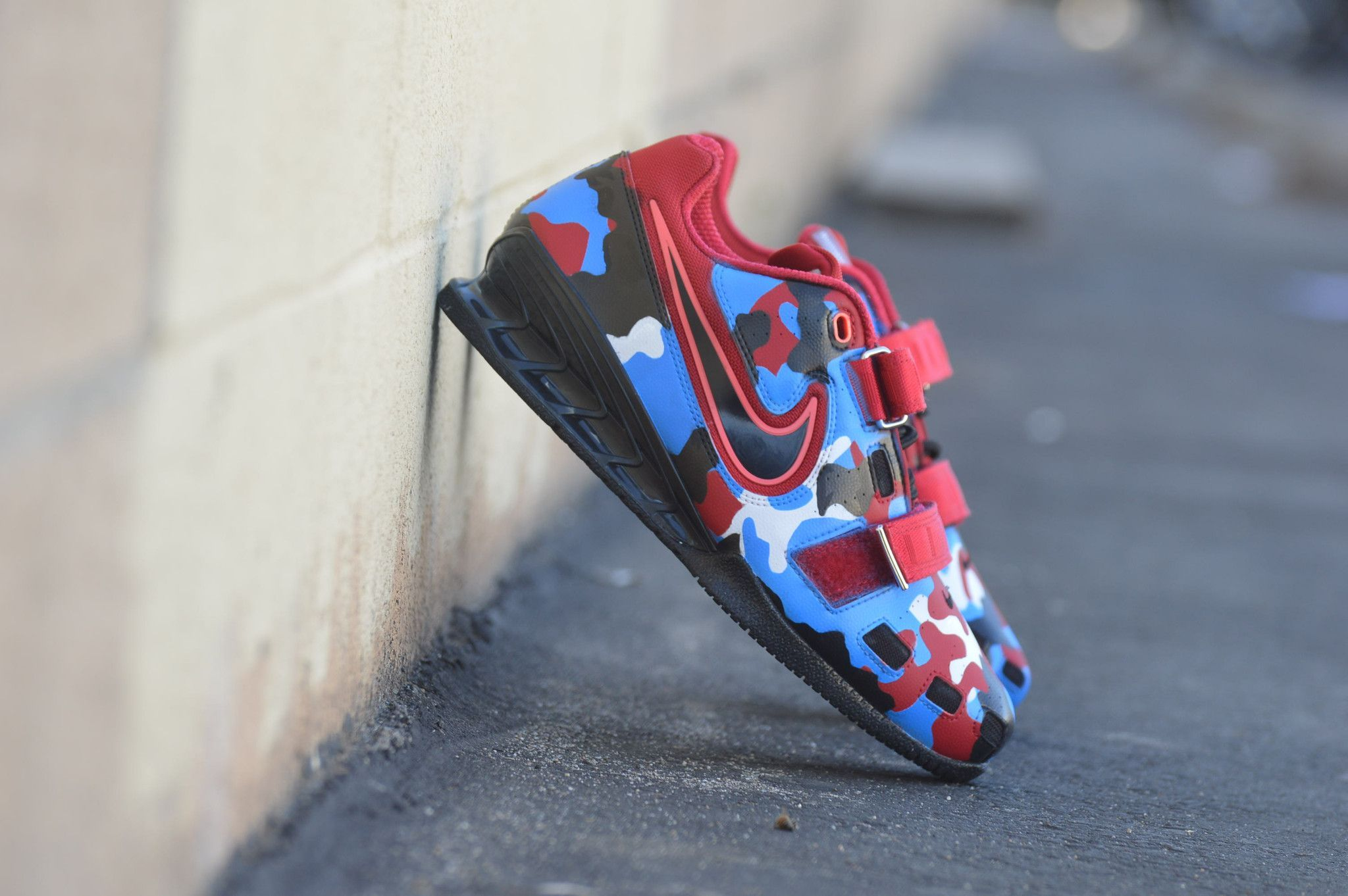 ba86e1dfe These custom hand painted Red White  amp  Blue Camo Nike Romaleos were  originally the Red