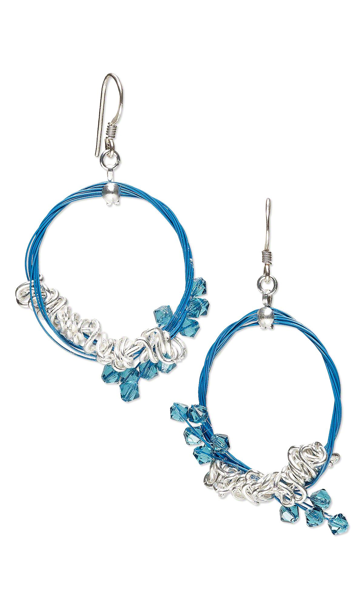 Jewelry Design - Earrings with Swarovski Crystal Beads, Silver ...