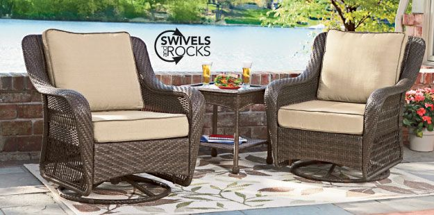 Relax With These Swivel And Glide Motion Chairs From Shopko Great For Indoor And Outdoor Outdoor Furniture Sets Stylish Patio Furniture Outdoor Dining Table