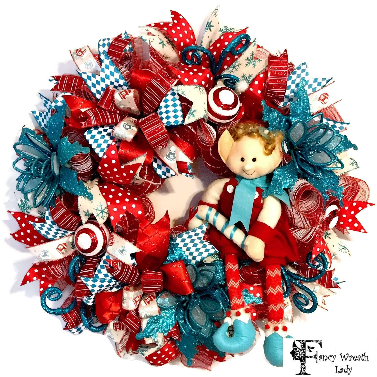 elf wreath turquoise and red christmas elf wreath christmas