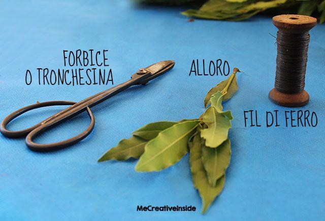 tutorial diy corona d'alloro di laurea materiali occorrente trochesina forbici alloro fil di ferro me creativeinside