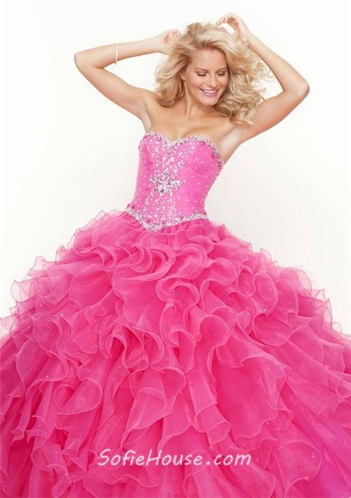 928b685bab0 Ball Gown sweetheart floor length Hot Pink beaded organza prom dress with  ruffles