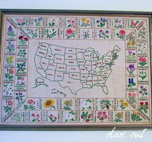 Embroidered State Flowers USA Map Maps Embroidery - Us state map quilt