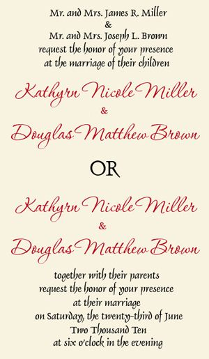 wedding invitation wording divorced parents - Wedding Invitation Wording Both Parents