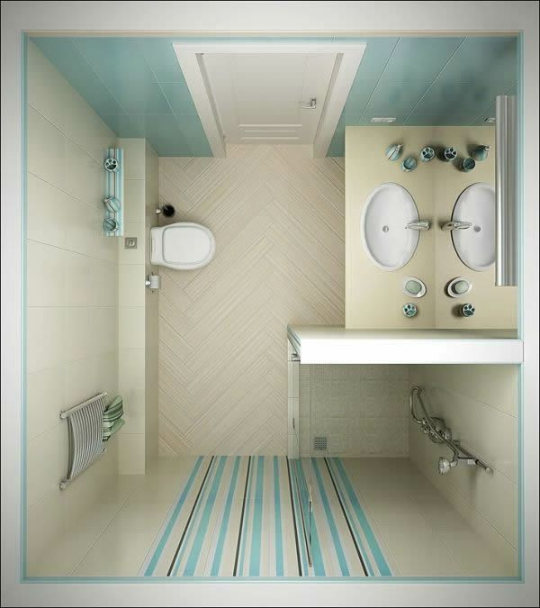 Hellblaue Farben und Streifen sind für das kleine Bad ganz passend - farben fürs badezimmer