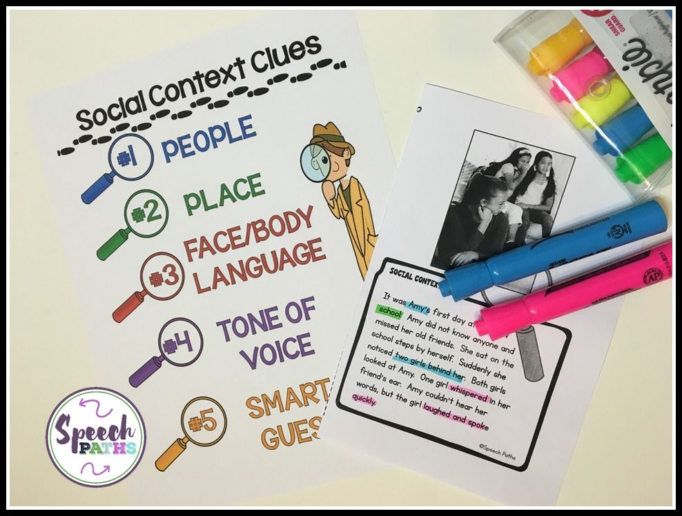 Social Context Clues visual and worksheet | Speech-Language Therapy ...