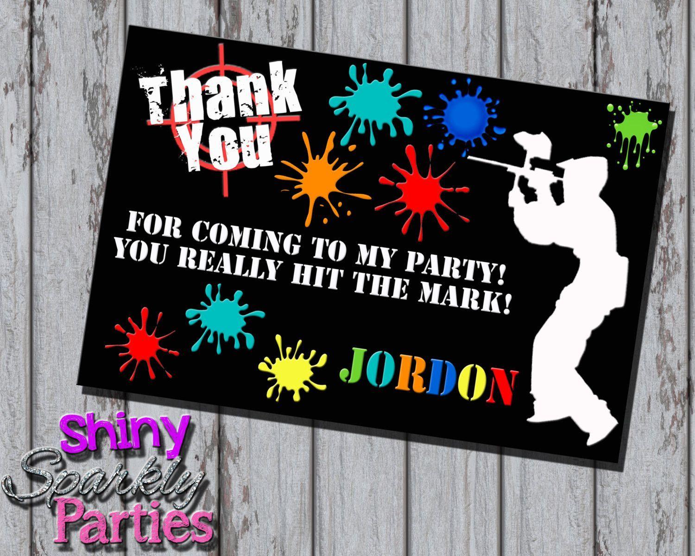 Paintball Birthday Thank You Card | Paintball birthday, Paintball ...