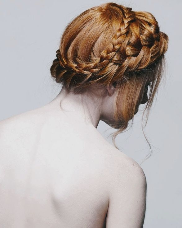 Braided Crown Wedding Hairstyle: Anna Tatton In Garden Of Earthly Delights By Saty & Pratha