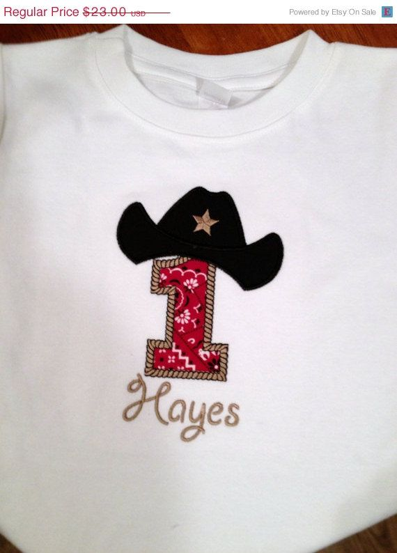 ce765b2ec January Sale Cowboy Cowgirl western birthday tshirt or onesie personalized  with applique number and hat. $20.70, via Etsy.
