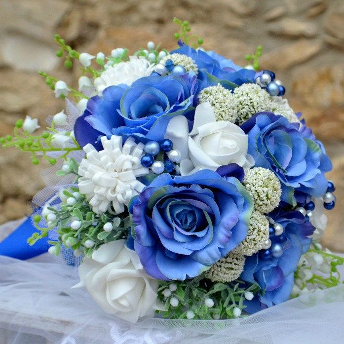 Wedding bouquet Blue roses  and boutonniere by Marcellinewedding on Etsy