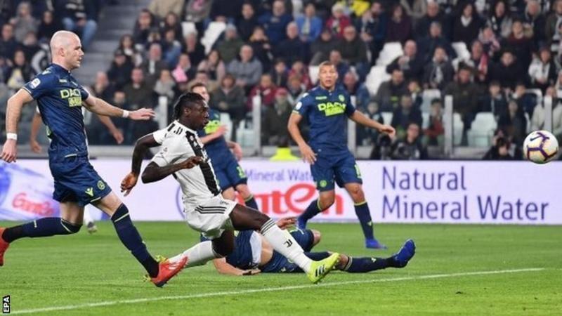 Juventus 41 Udinese Moise Kean scores twice as champions