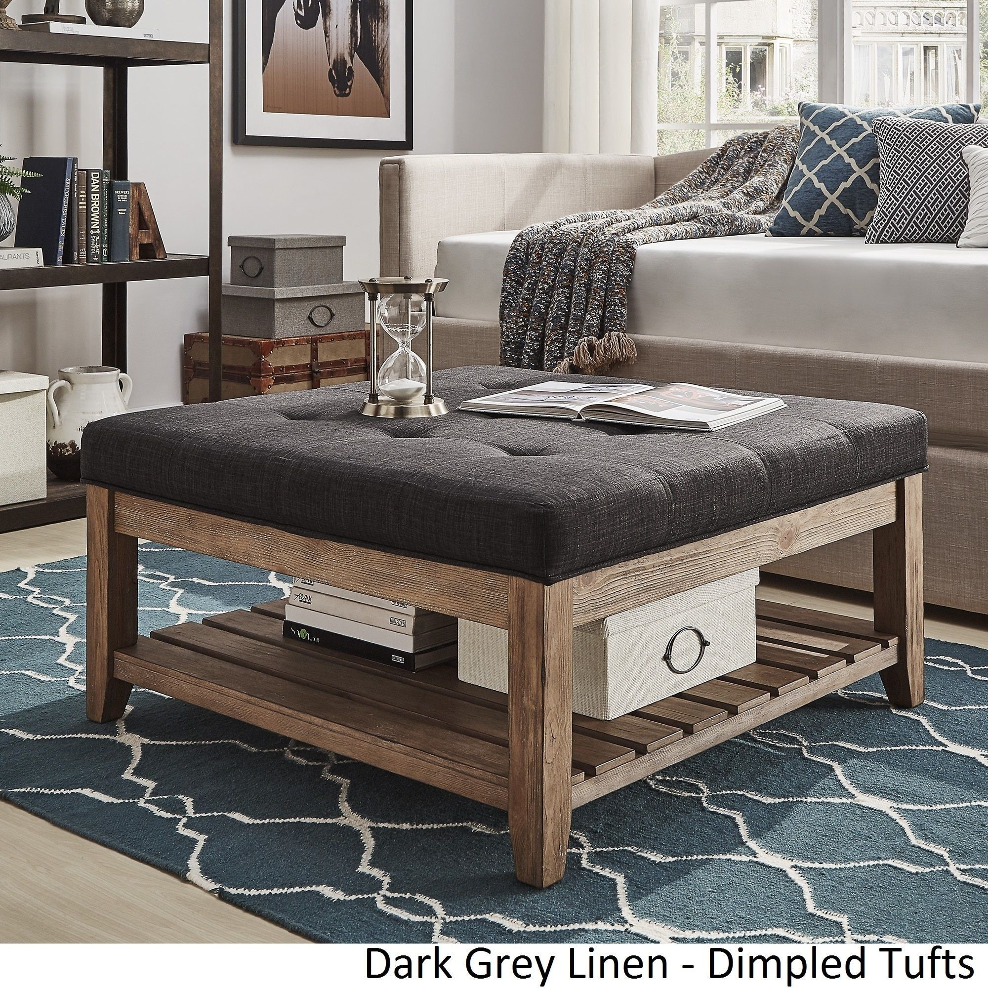 Lennon Pine Planked Storage Ottoman Coffee Table by iNSPIRE Q Artisan by  iNSPIRE Q