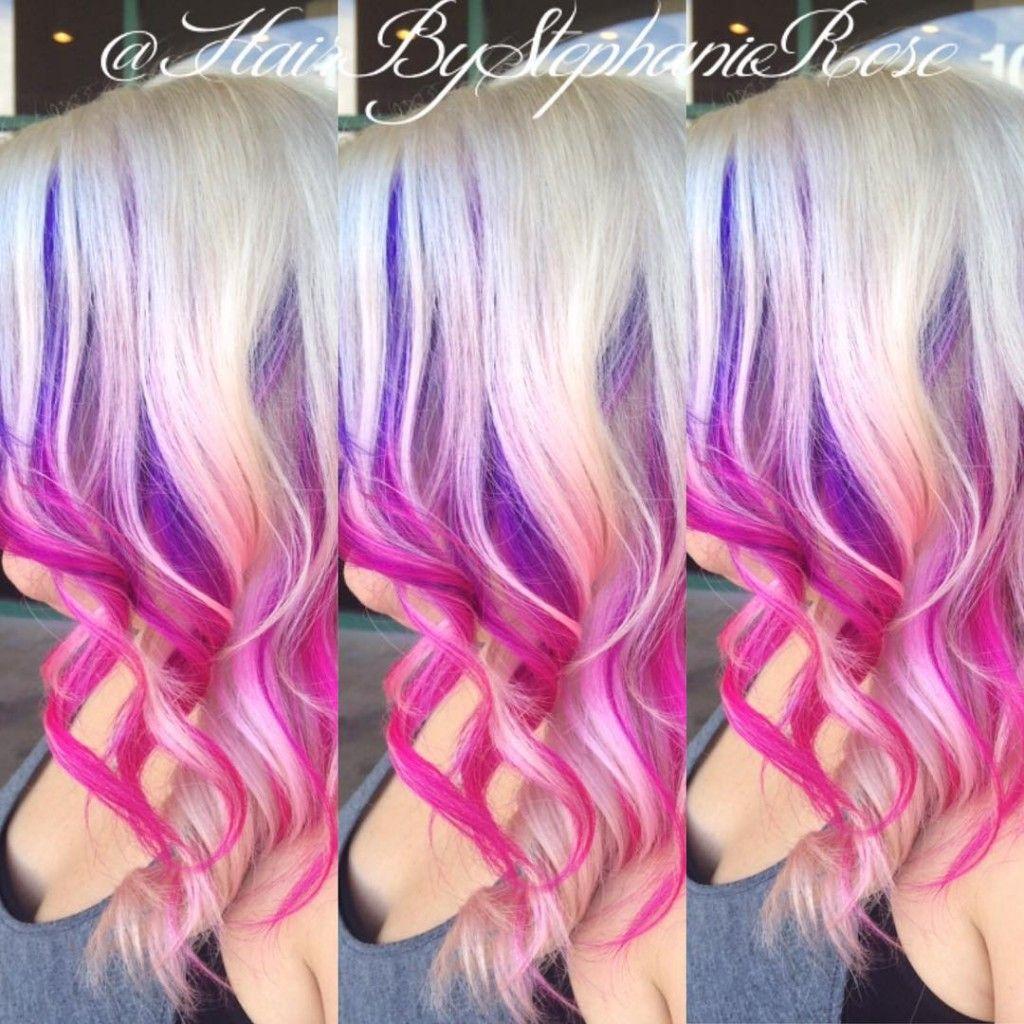 Blonde Pink And Purple Hair Purple Blonde Hair Peekaboo Hair Hair Highlights