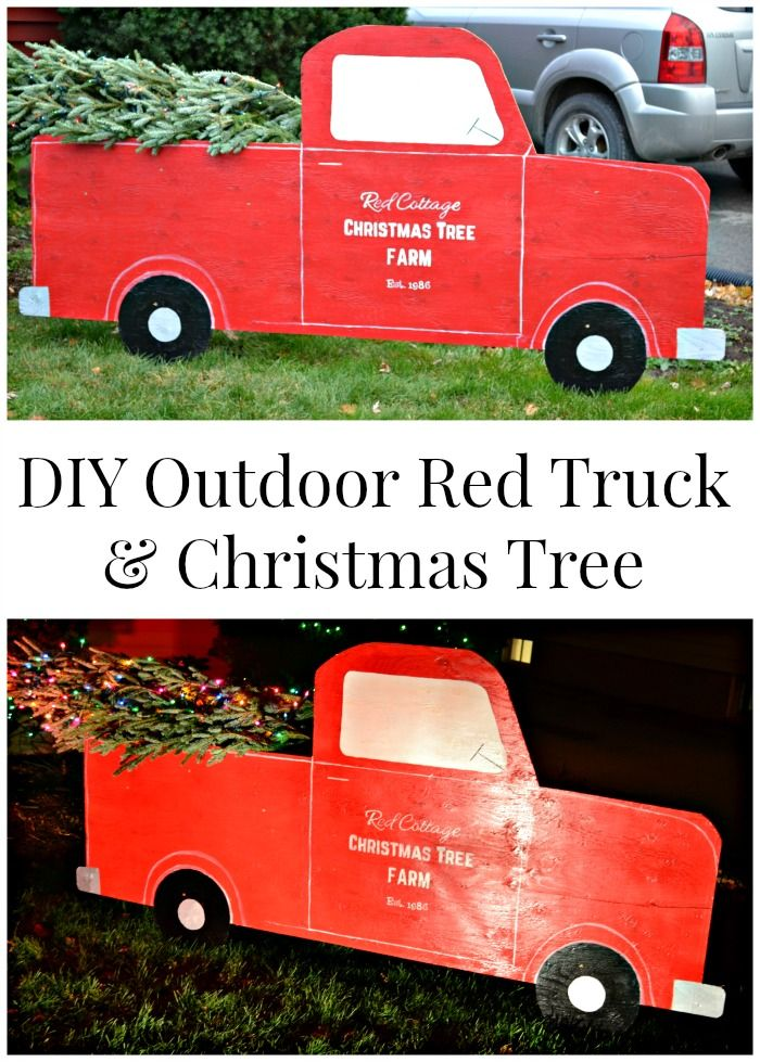 diy almost life size red truck and christmas tree to add a bit of fun to your outdoor christmas decorations
