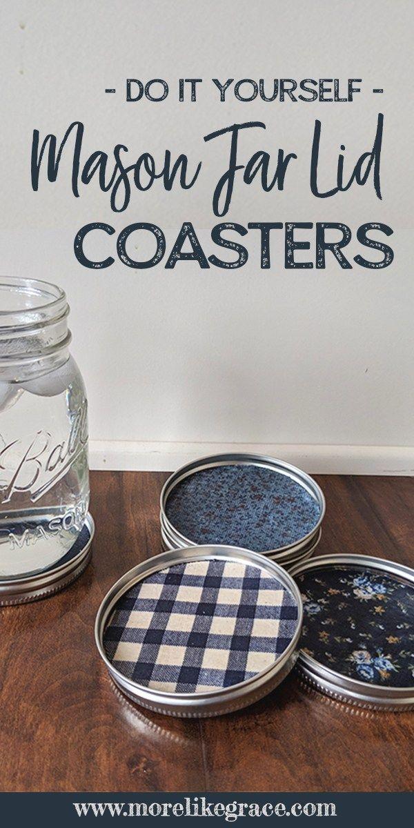 Mason Jar Lid Coaster Tutorial images