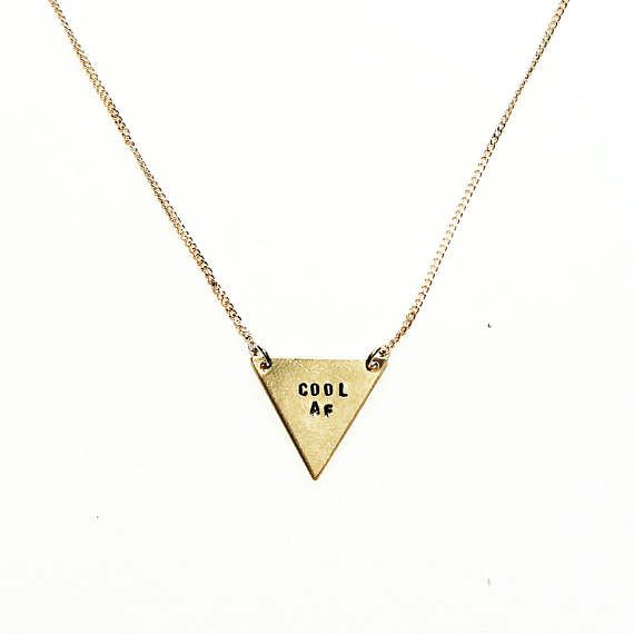 Cool AF Tiny Triangle Necklace Handstamped Gold Jewelry shop