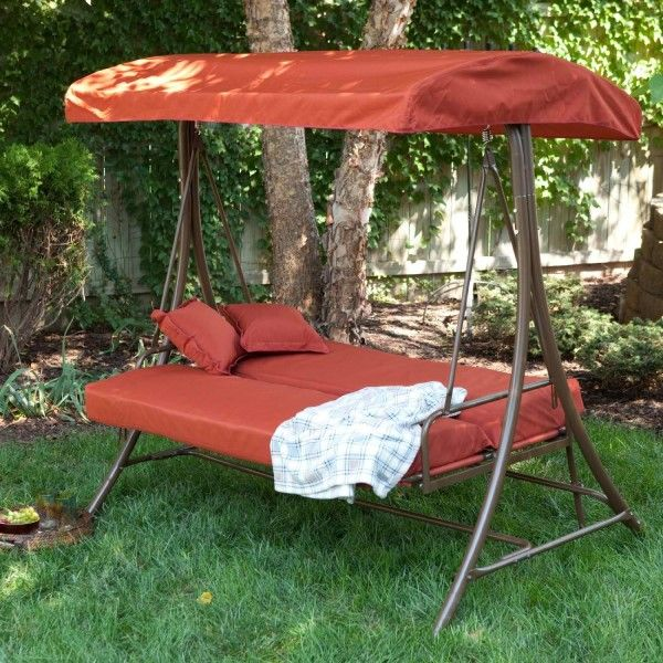 Coral Coast Siesta 3 Person Canopy Swing Bed   Terra Cotta   Porch Swings  At Hayneedle