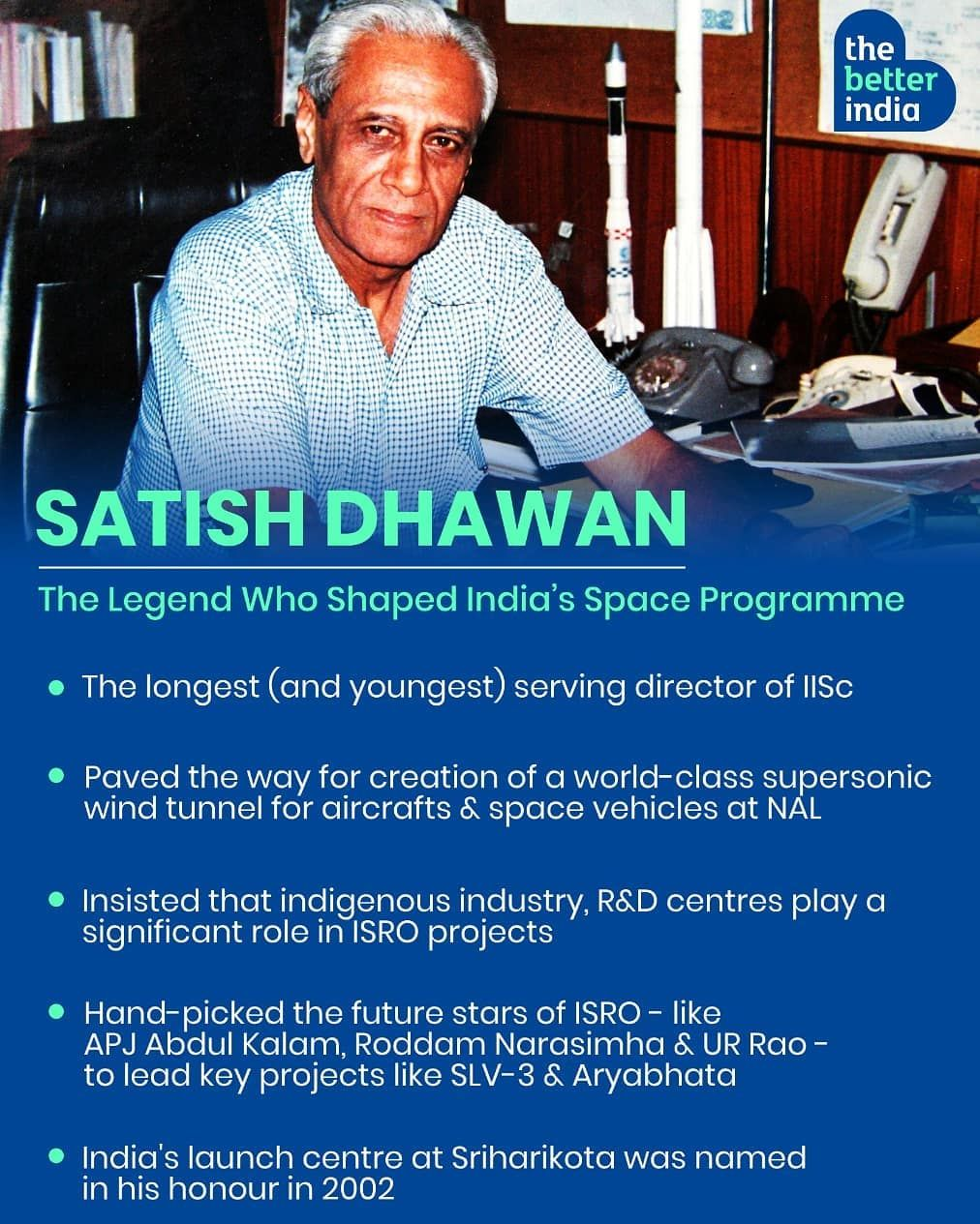 The Better India On Instagram One Of The Great Builders Of Modern India Prof Satish Dhawan Imbued The Country S Scientific Communit Modern India India Prof