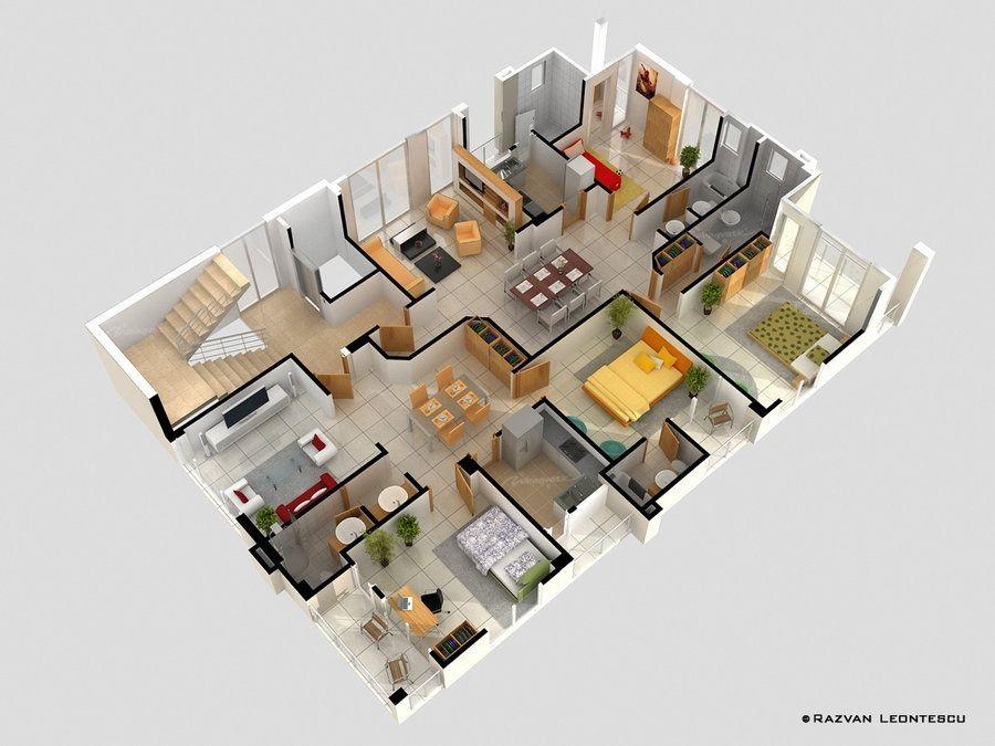 plano-de-casa-con-muchas-habitaciones-8 House - floor plan - logiciel gratuit de plan de maison 3d