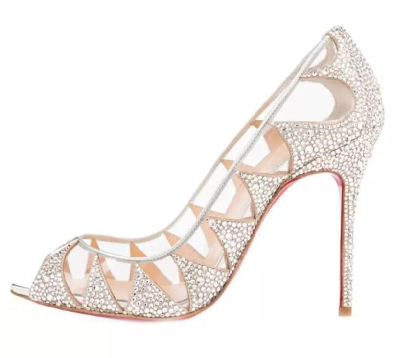 Bling Major Beading Cinderella Crystal Wedding Shoes 2018 Transparent Peep  Toe 9 CM High Heel Peep Toe White Women Pumps Sandals Bridal 5c27cfe7d8eb