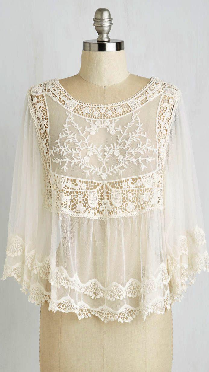 Crochet lace capelet top | Ropa De Mujer | Pinterest | Blusas ...