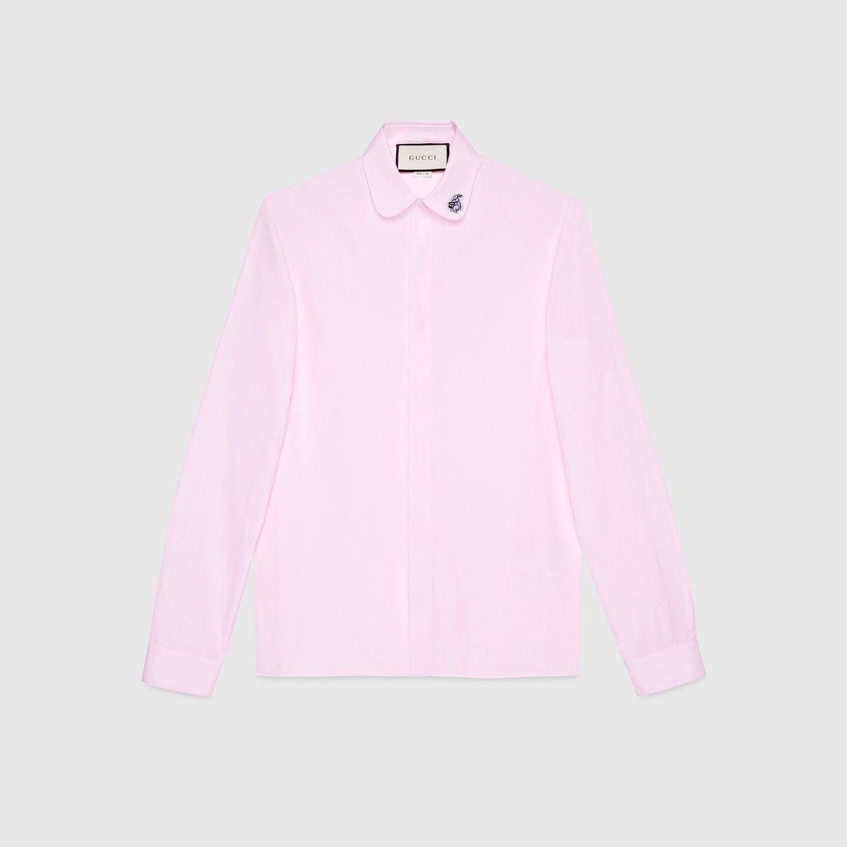 GUCCI Rabbit Embroidered Cambridge Shirt - Light Pink Cotton. #gucci ...