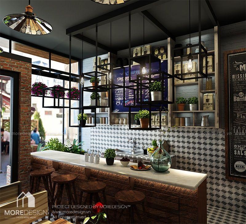 Thiết kế quán cafe đẹp phong cách hiện đại