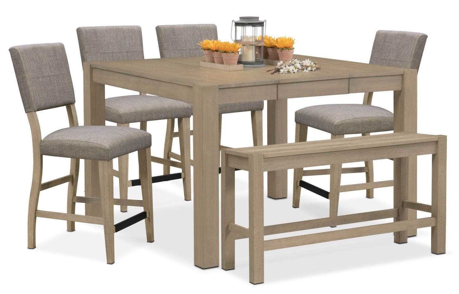 Dining room table with upholstered bench  Tribeca CounterHeight Table  Upholstered Side Chairs And Bench