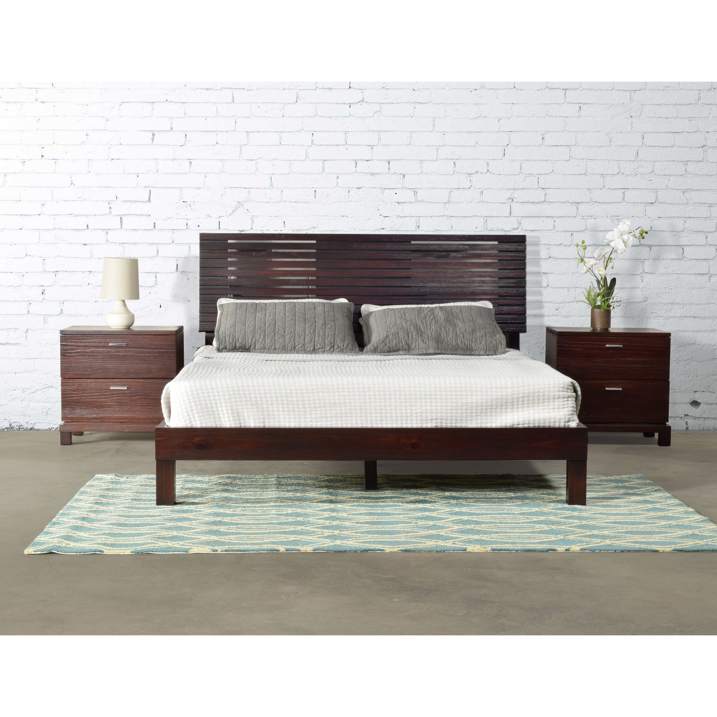 This Queen Bed Design Features A Slated Headboard And Footboard