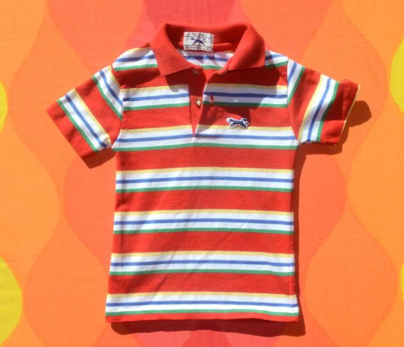 17d4e3d9 80s vintage polo golf shirt FOX red striped kids youth children 6 ...