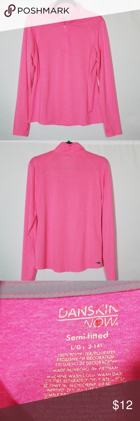 🌼Danskin warmup athletic top Size Large 12 -14 Cute girls pink lightweight top! Girls size Large #0429 Danskin Now Shirts & Tops