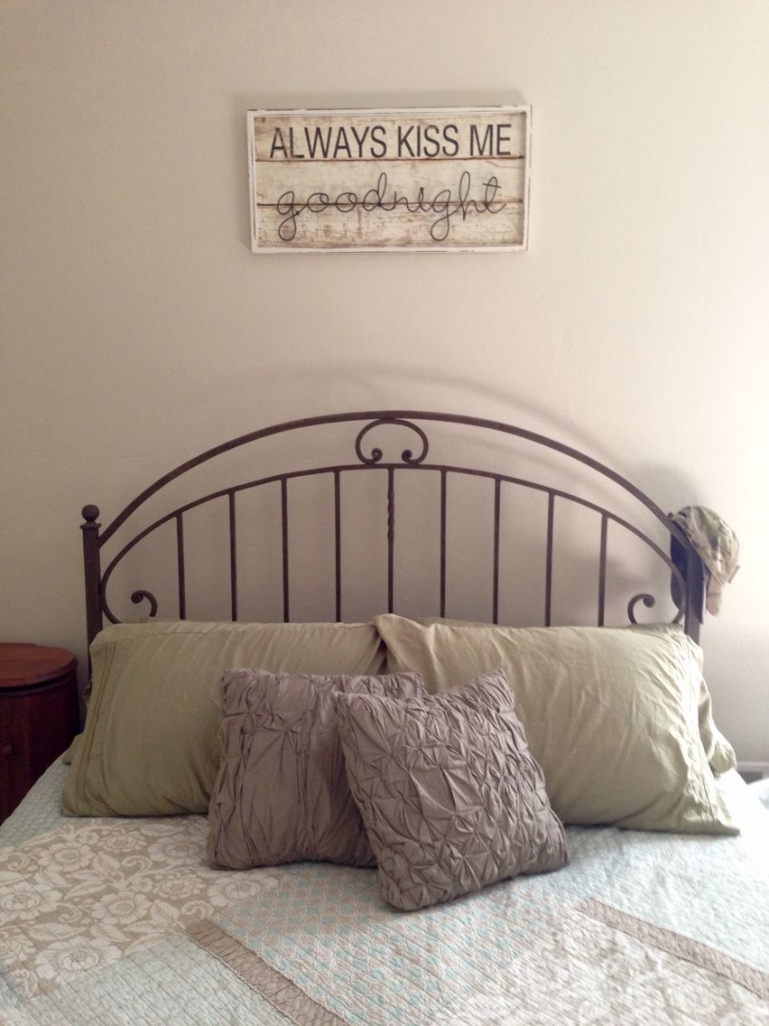 Simple and cozy country style bed Always kiss me good night