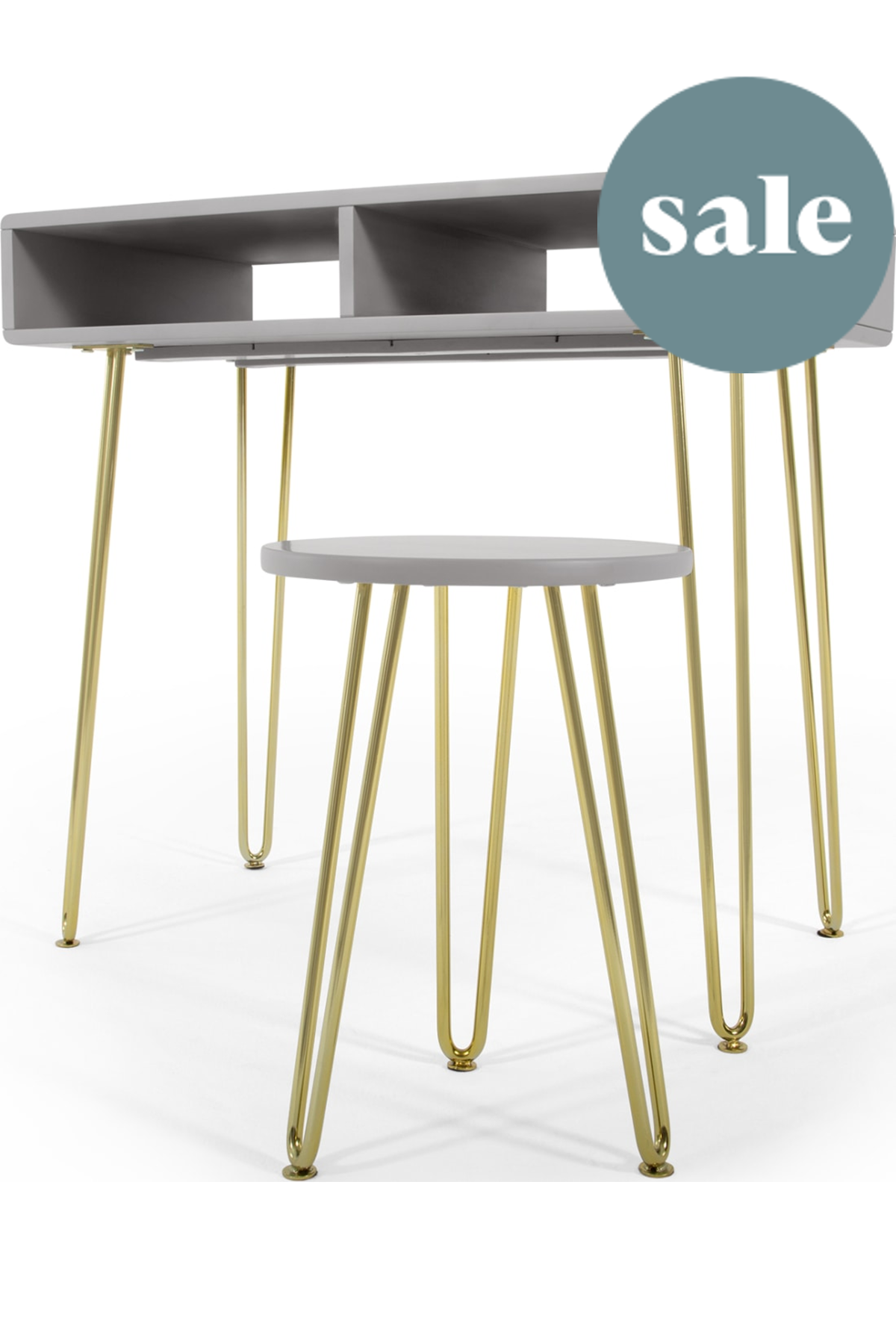 Pair Bed Stools: Cal Desk And Stool Set, Grey And Brass