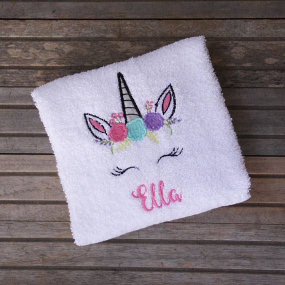 LAVENDER COLOR HAND TOWEL UNICORN MAGICAL DESIGN EMBROIDERED