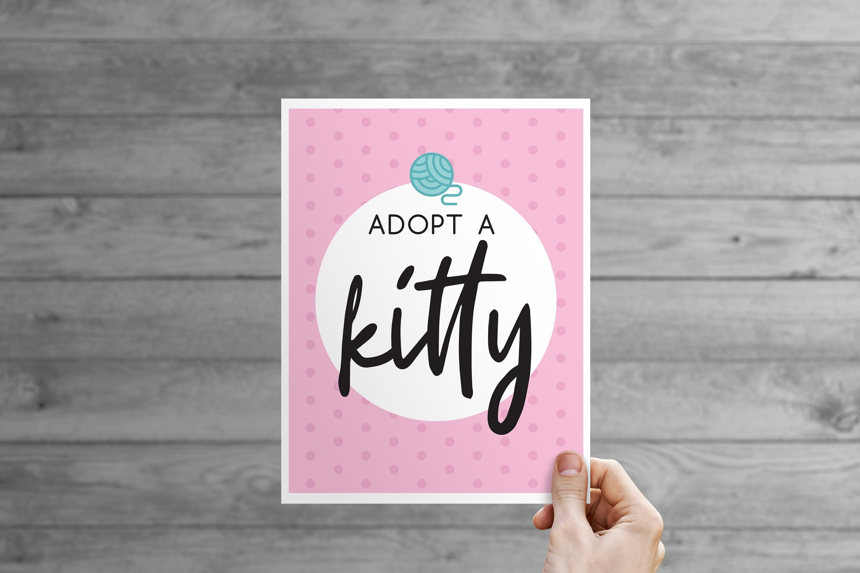 Kitty Kitten Cat Adoption Table Sign Etsy In 2020 Cat Adoption Cats And Kittens Cat Themed Parties