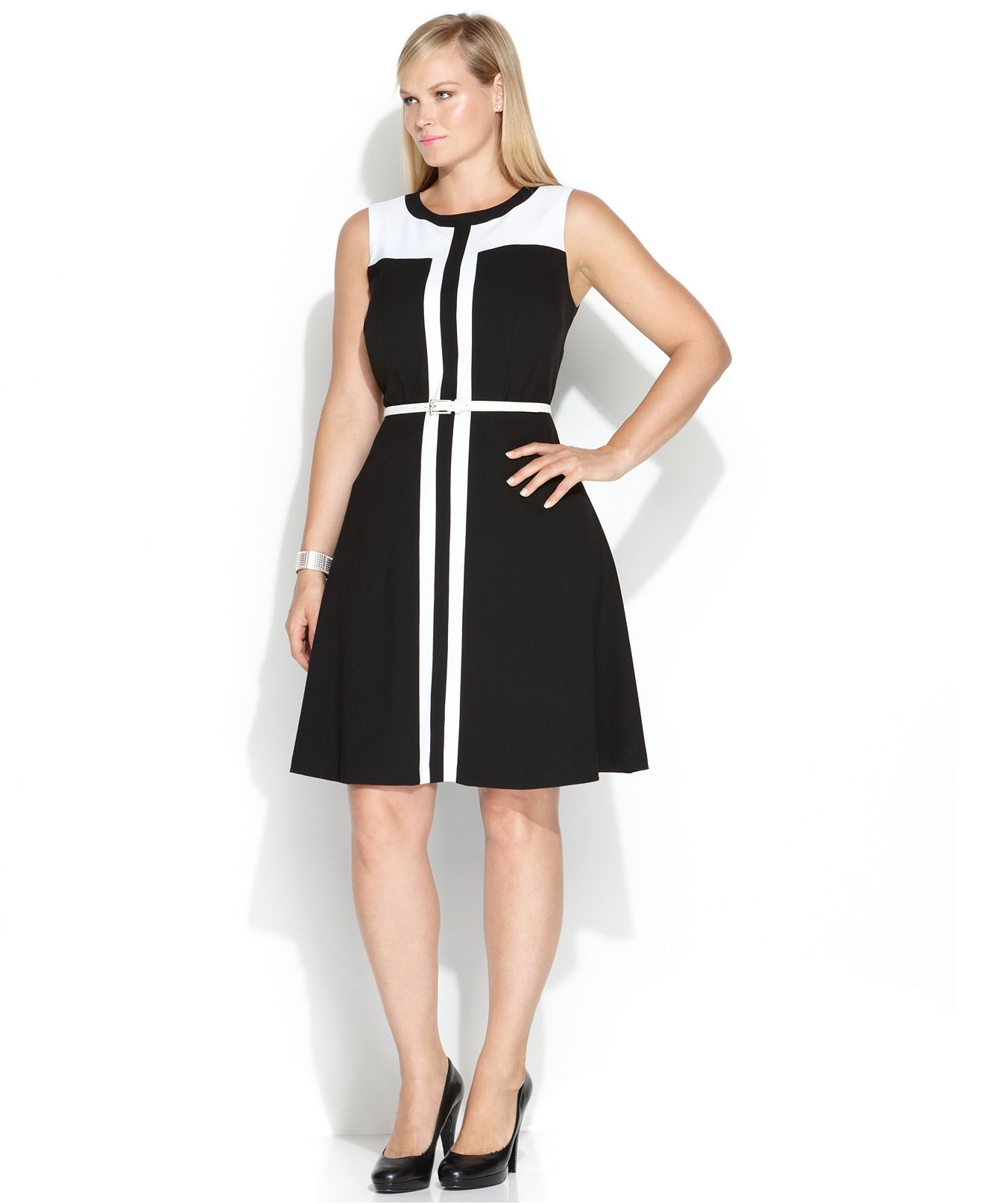 Calvin Klein Plus Size Sleeveless Colorblocked Belted A-Line Dress - Dresses  - Plus Sizes - Macy's