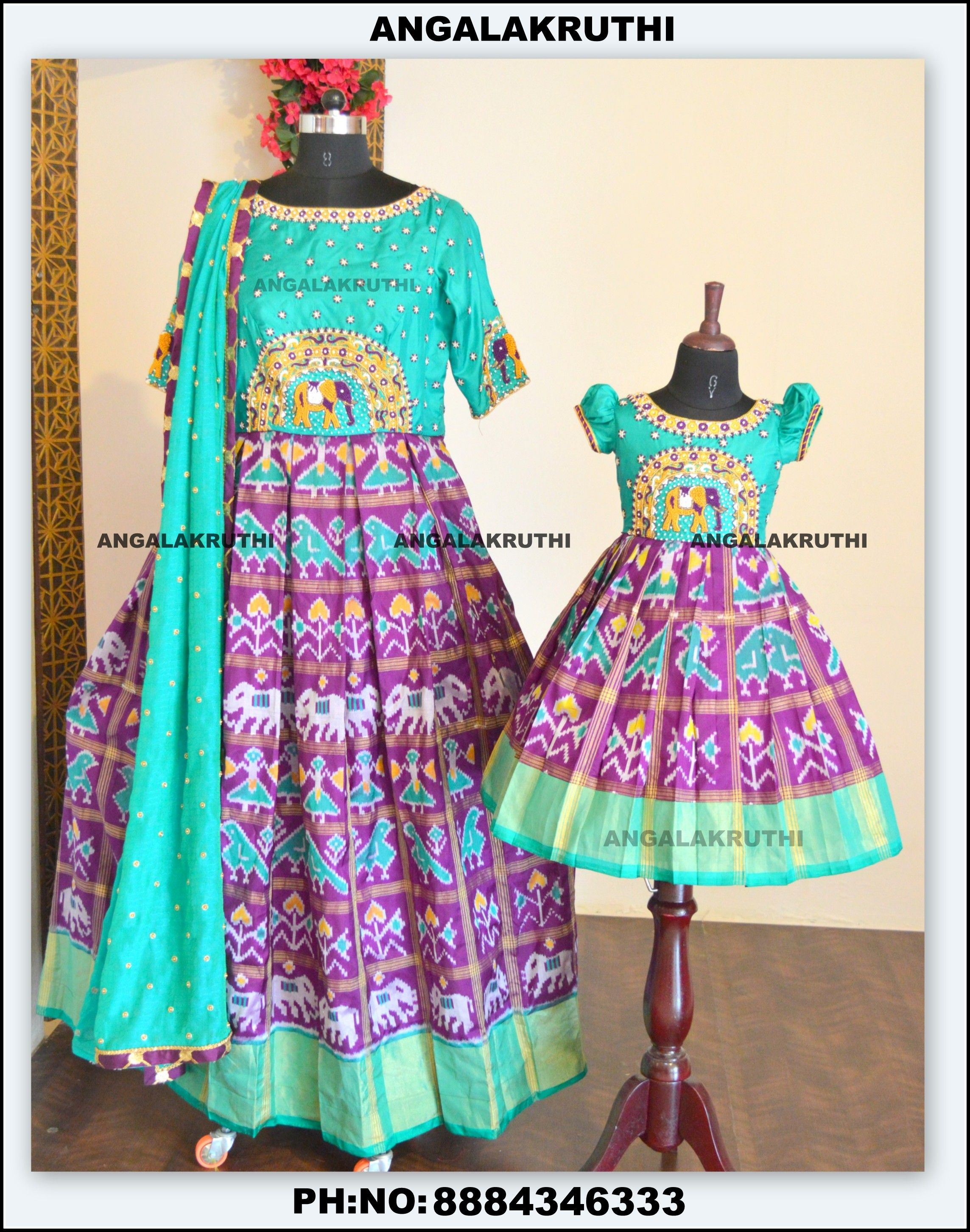 737dd90ba7 Mother and daughter matching dress · ikkat silk long gown designs by Angalakruthi  boutique in bangalore india custom designer boutique in Bangalore